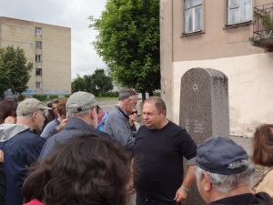 Simon, our guide, by the memorial at the Kaunas Ghetto.It was burned down during the war.